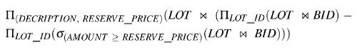 Relational algebra formula