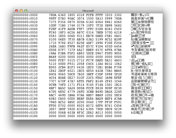 Unicode output from hexxed